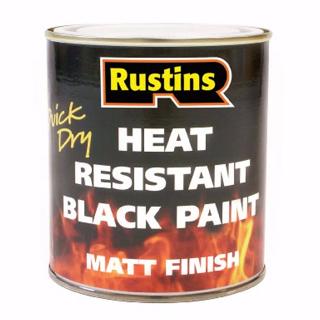 500ml. RUSTINS HEAT RESISTANT BLACK PAINT