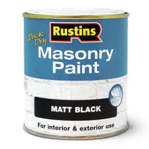 500ml. BLACK MASONRY PAINT RUSTINS