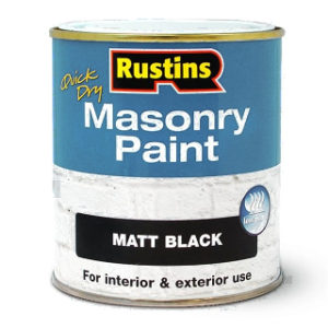 250ml. BLACK MATT MASONRY PAINT RUSTINS
