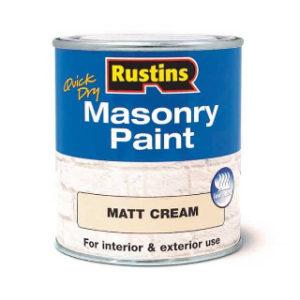 500ml. CREAM MATT MASONRY PAINT RUSTINS