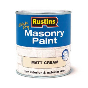 250ml. CREAM MATT MASONRY PAINT RUSTINS