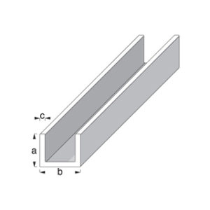 1m x 10mm x 18mm WHITE PLASTIC 'U' ANGLE ROTHLEY