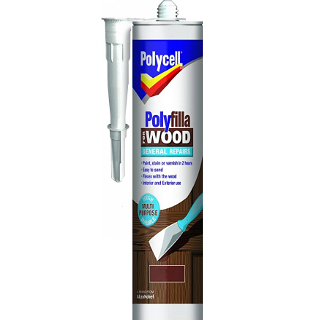 480g DARK GENERAL REPAIR WOOD POLYFILLA CARTRIDGE POLYCELL