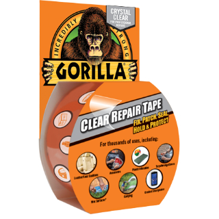 No other tape offers the clarity, strength and durability of Gorilla Clear Repair Tape! The ideal solution for almost any repair, Gorilla Clear Repair Tape features the strength of Gorilla Tape in a weatherproof, airtight, crystal-clear tape. Easy to tear by hand, with Gorilla Clear Repair Tape, you can fix, patch, seal, hold and protect almost any surface with a crystal-clear appearance for a perfect fix every time. Available in 27 ft. rolls