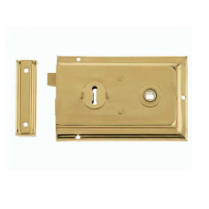 152mm REVERSIBLE RIM LOCK POLISHED BRASS