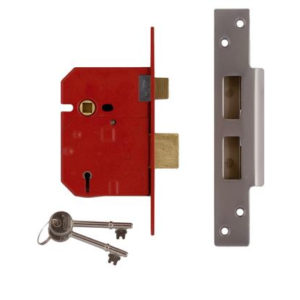 67mm 5 LEVER MORTICE LOCK SATIN CHROME