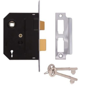 63mm 2 LEVER MORTICE LOCK CHROME