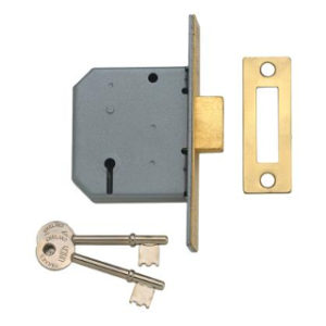 65mm 3 LEVER MORTICE LOCK SATIN CHROME