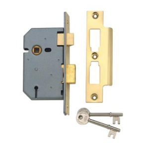 78mm 3 LEVER MORTICE LOCK BRASS